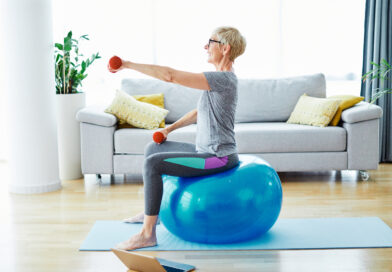 senior indoor exercise woman training lifestyle sport fitness home healthy gym exercising